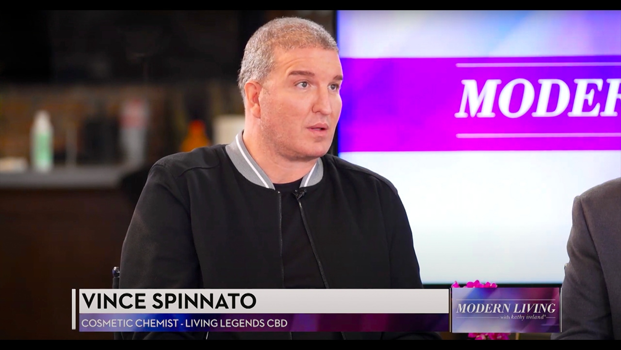 """Author, entrepreneur, and cosmetic chemist Vince Spinnato on the panel for Living Legends CBD on """"Modern Living With Kathy Ireland""""."""